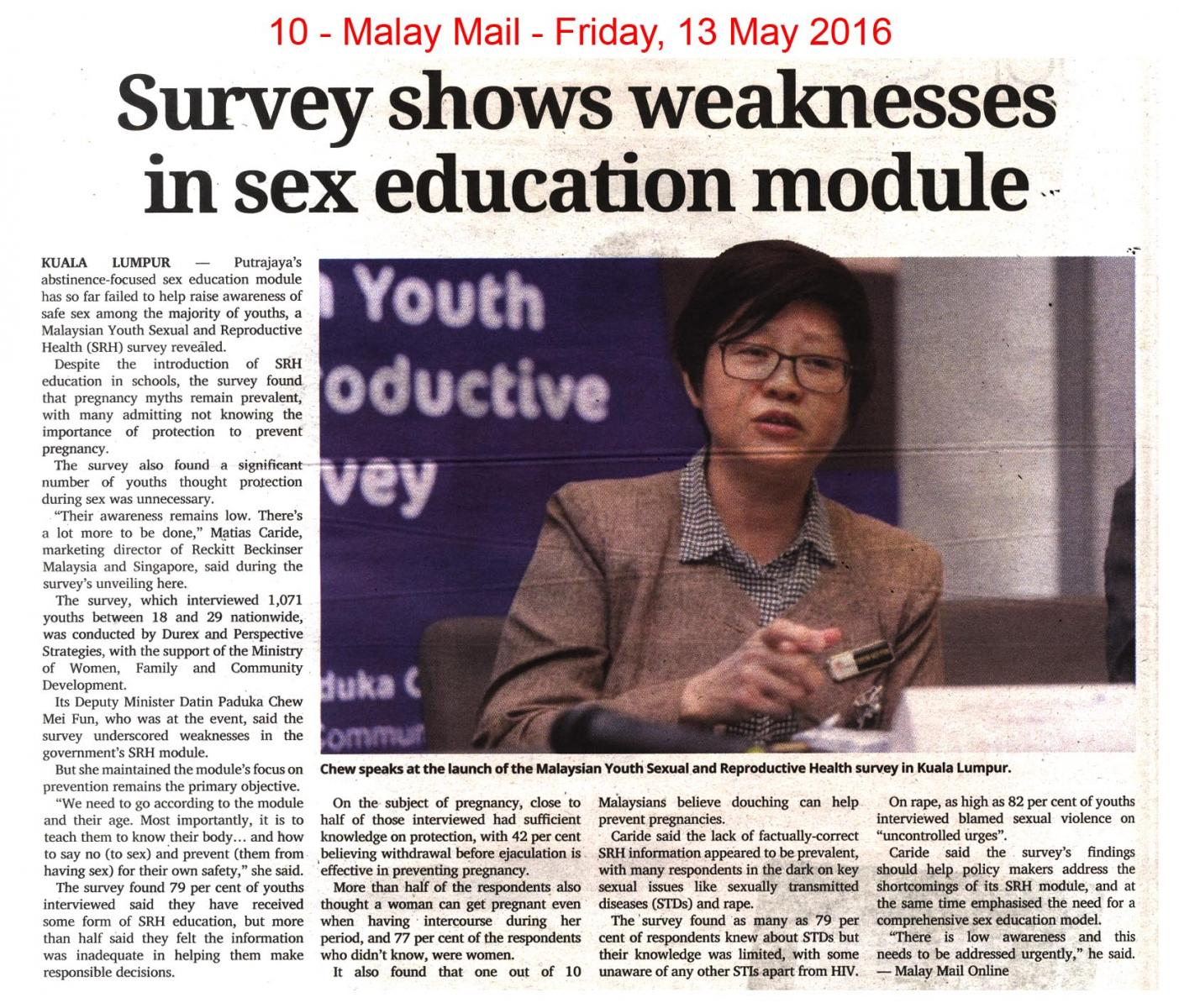 mm13 5 16 survey shows weaknesses in sex education module jpg